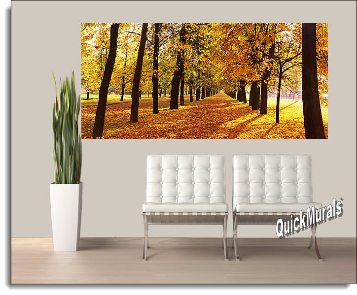 Autumn Park Panoramic Peel And Stick Wall Mural