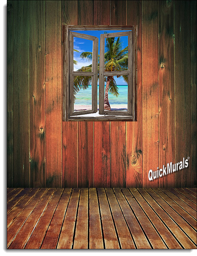 Beach Cabin Window Mural 5