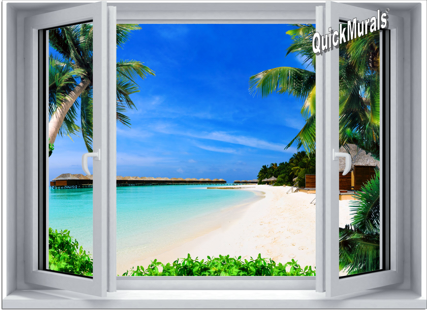 Beach resort window 1 piece canvas peel stick wall mural for Beach view wall mural