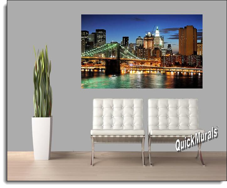 brooklyn bridge color peel and stick wall mural. Black Bedroom Furniture Sets. Home Design Ideas