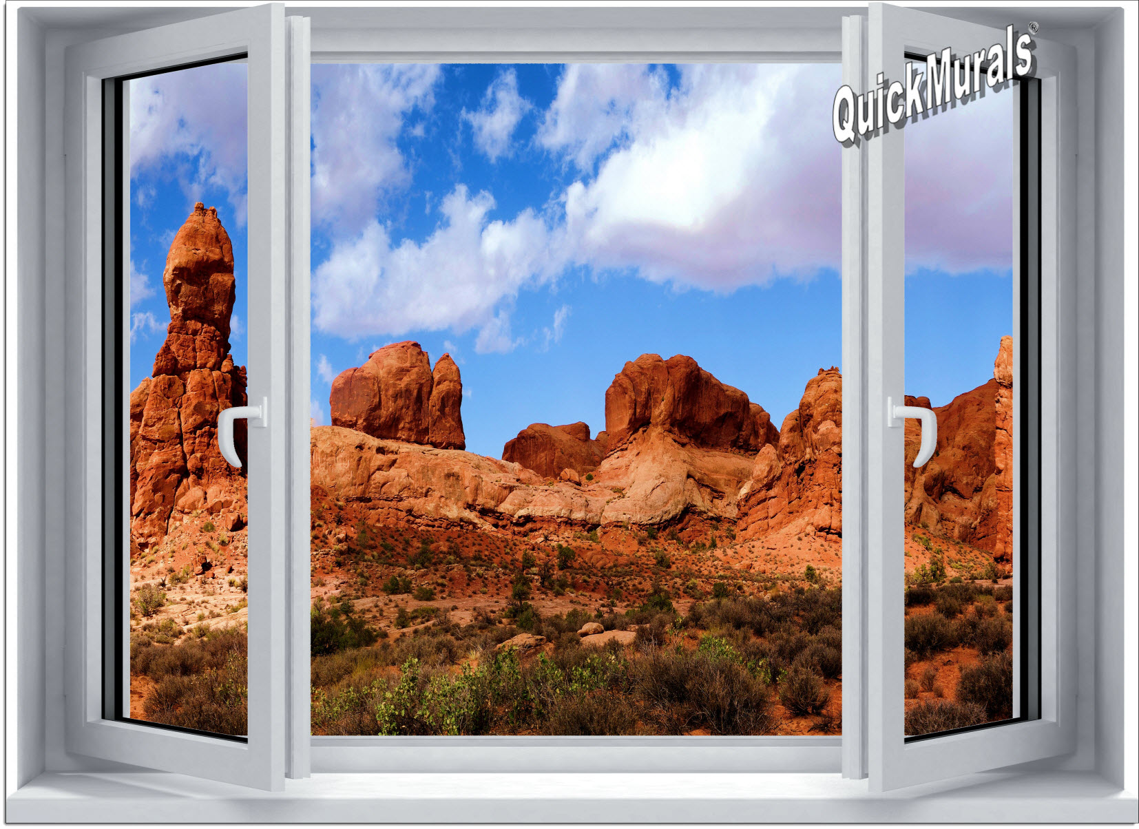 Desert canyon window 1 piece canvas peel stick wall mural for Desert wall mural