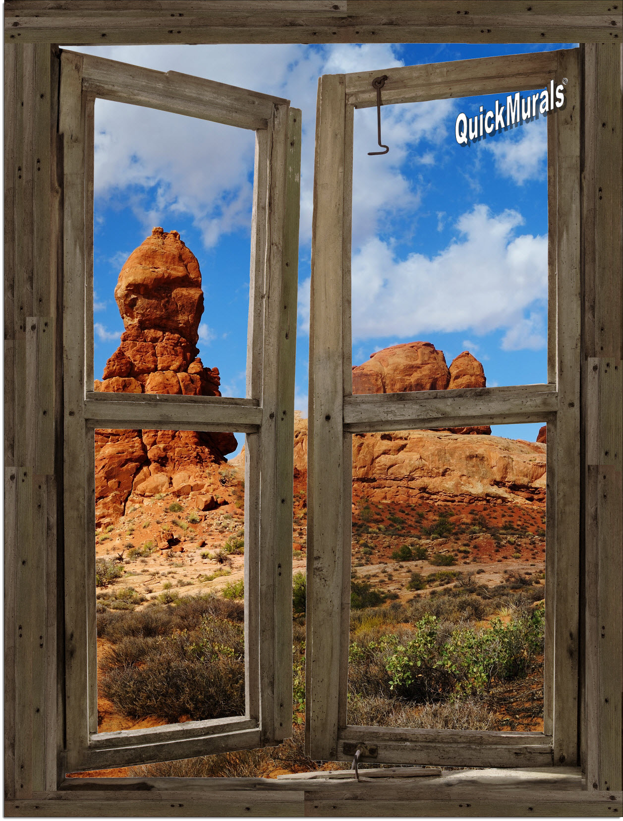 Desert canyon window peel stick 1 piece canvas wall mural for Canvas wall mural