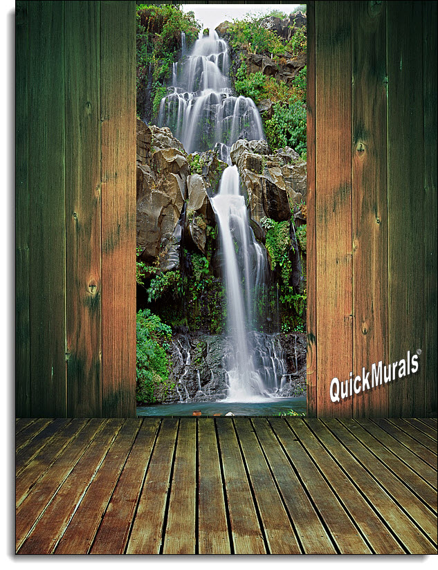 chestnut trail waterfall 1 piece peel stick wall door mural