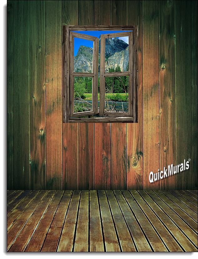 Mountain Cabin Window Mural 3