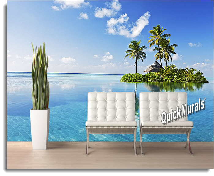 paradise island peel and stick wall mural large stick on wall murals best wallpaper background