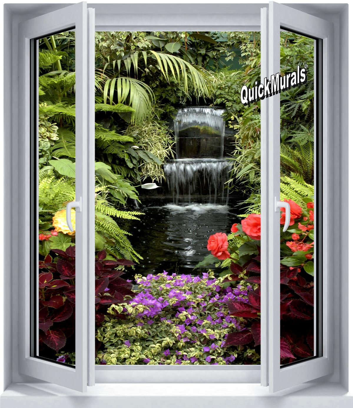 Floral waterfall window 1 piece peel stick wall mural for Canvas wall mural