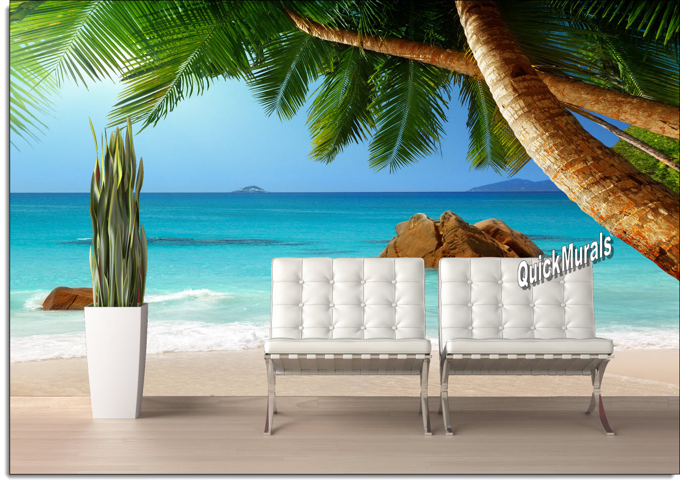 Beach resort sunset peel and stick canvas wall mural for Beach mural for wall
