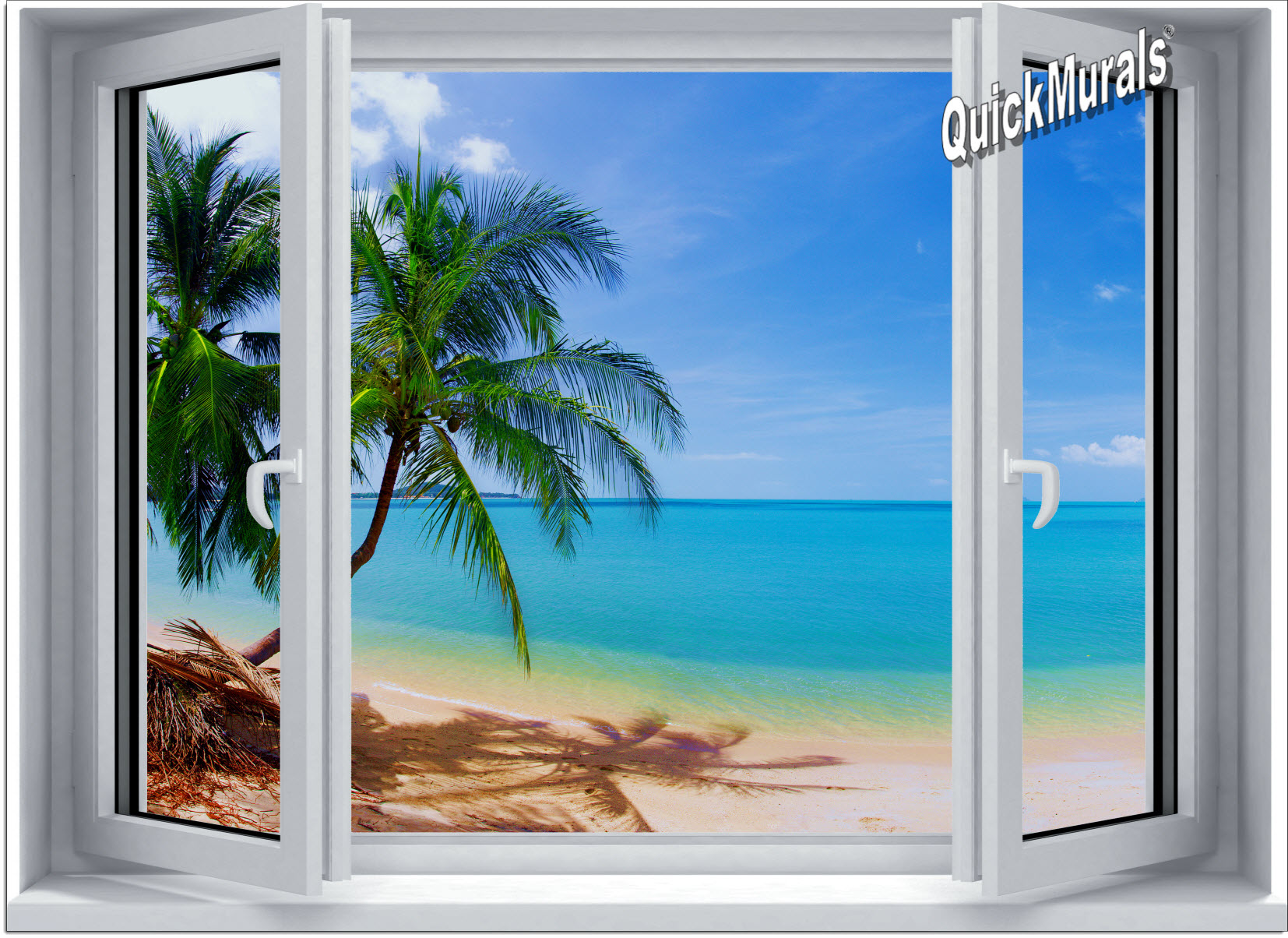 Tropical beach window 1 one piece canvas peel stick for Beach mural for wall