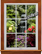 Garden Waterfall Window 1-Piece Peel & Stick Wall Mural