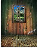 Mountain Rustic Cabin Window peel and stick wall mural