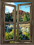 Desert Cabin Window Peel & Stick (1 piece) Canvas Wall Mural