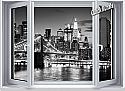 Brooklyn Bridge Window One-Piece Canvas Peel & Stick Wall Mural