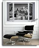 Brooklyn Bridge Window One-Piece Canvas Peel & Stick Wall Mural roomsetting