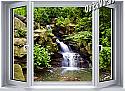 Mountain Waterfall Window 1-Piece Canvas Peel & Stick Wall Mural