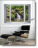 Mountain Waterfall Window 1-Piece Canvas Peel & Stick Wall Mural Roomsetting