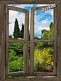 Garden Lake Cabin Window Peel & Stick (1 piece) Canvas Wall Mural