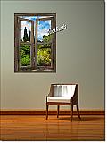 Garden Lake Cabin Window Peel & Stick (1 piece) Canvas Wall Mural Roomsetting