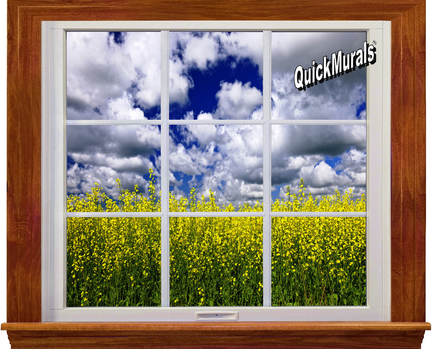 Country fields window 1 piece peel stick wall mural for Country wall mural