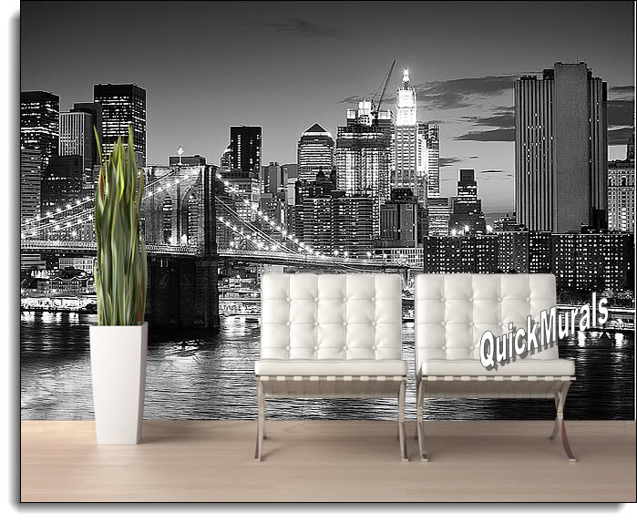 Brooklyn Bridge Black and White peel and stick self adhesive Wall Mural