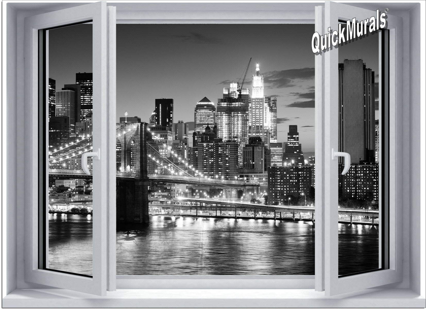 Brooklyn bridge bw window one piece canvas peel stick for Brooklyn bridge wall mural