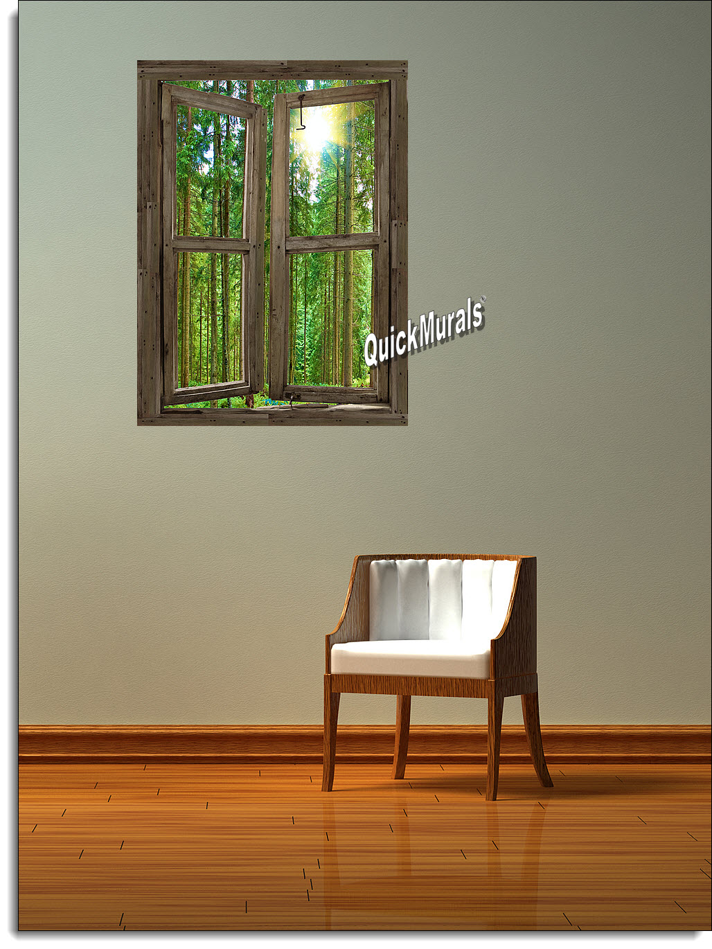 Country cabin window peel stick 1 piece canvas wall mural amipublicfo Images