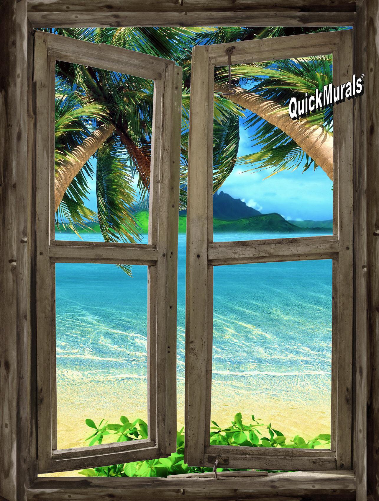 Beach cabin window mural 7 for Window wall