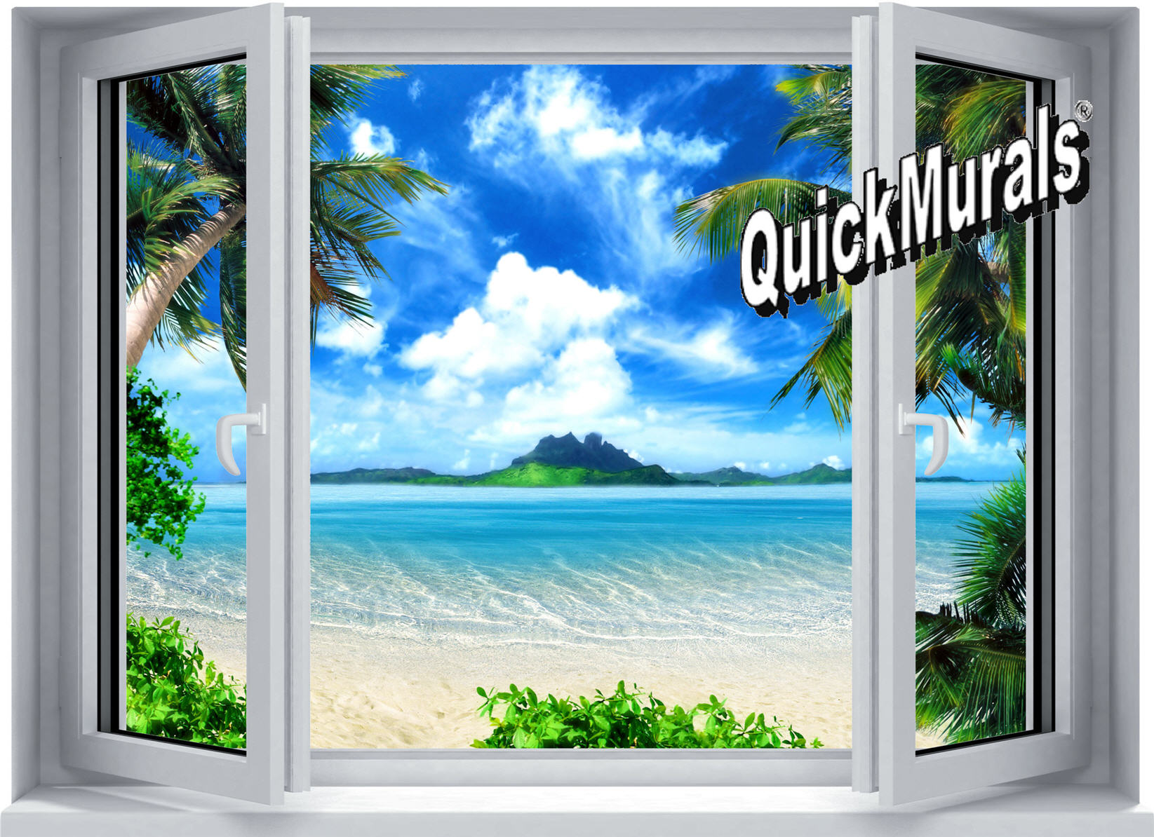 Tropical paradise window 1 piece peel stick wall mural for Window wall