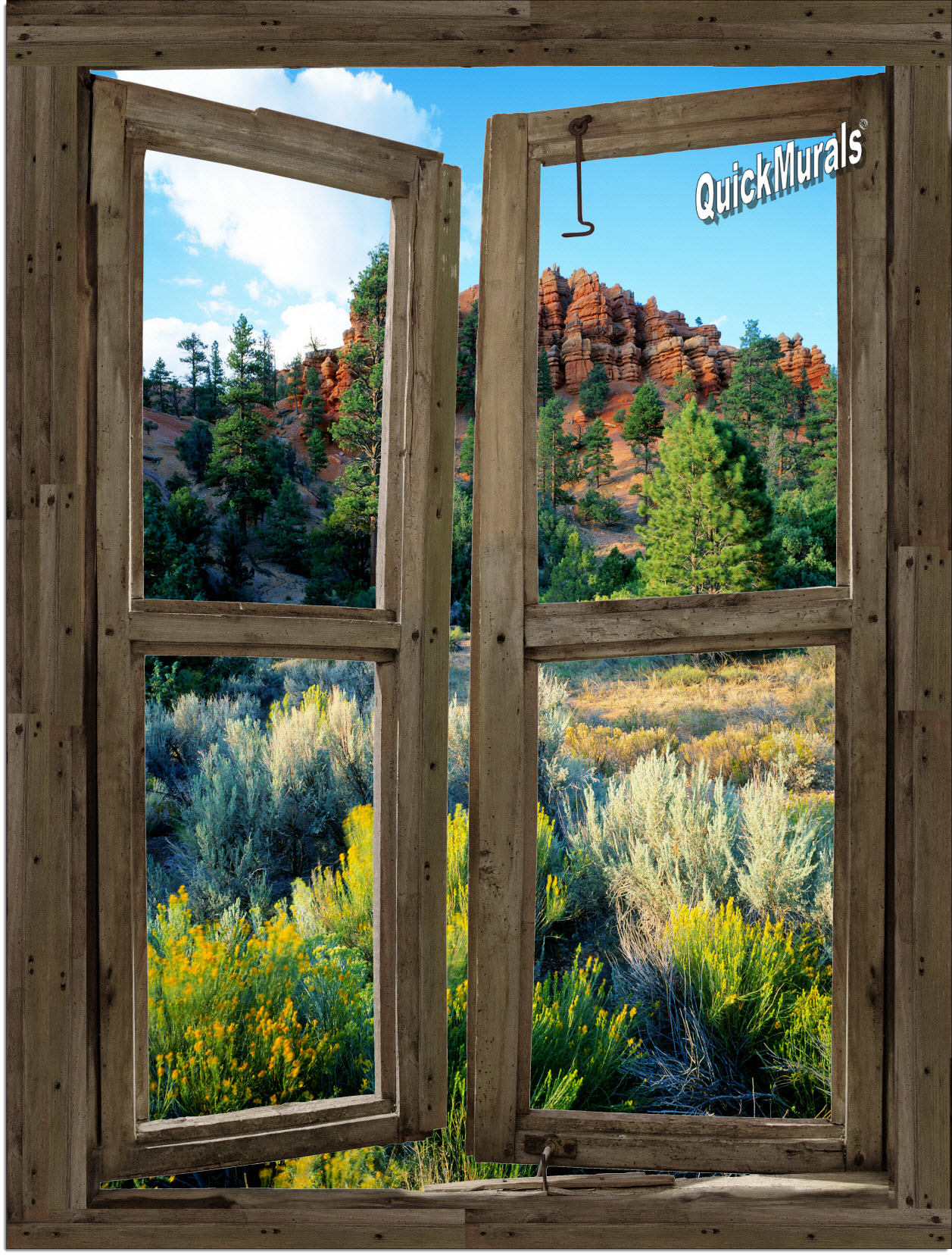 Desert cabin window peel stick 1 piece canvas wall mural for Window wall