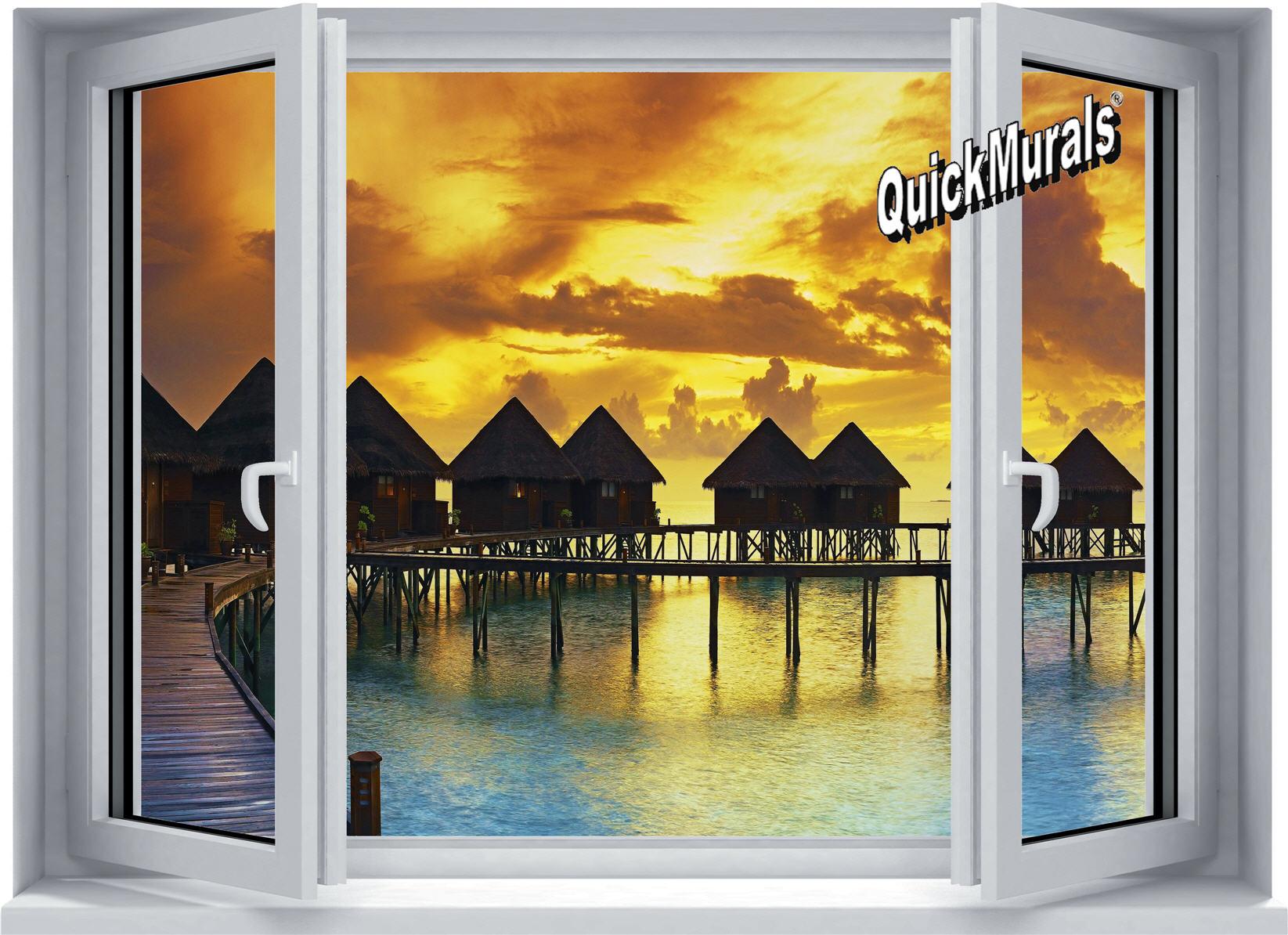 Sunset Resort Window 1-Piece Peel & Stick Wall Mural