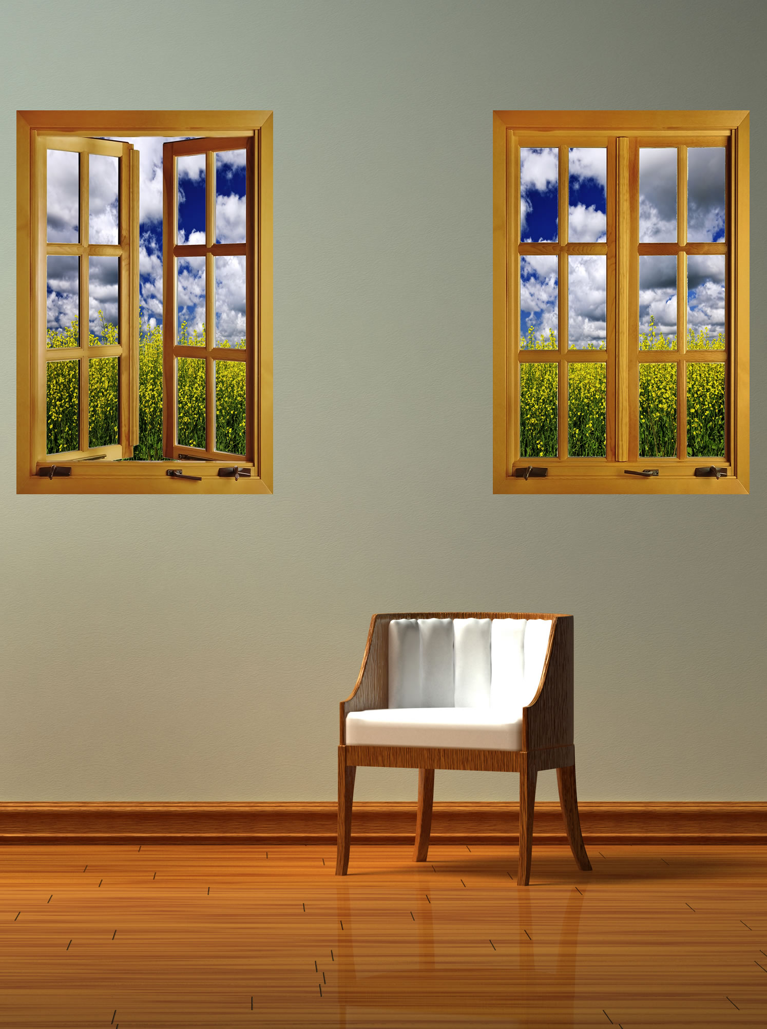 Flower Field Window 2 Closed 1 Piece Peel Amp Stick Wall Mural