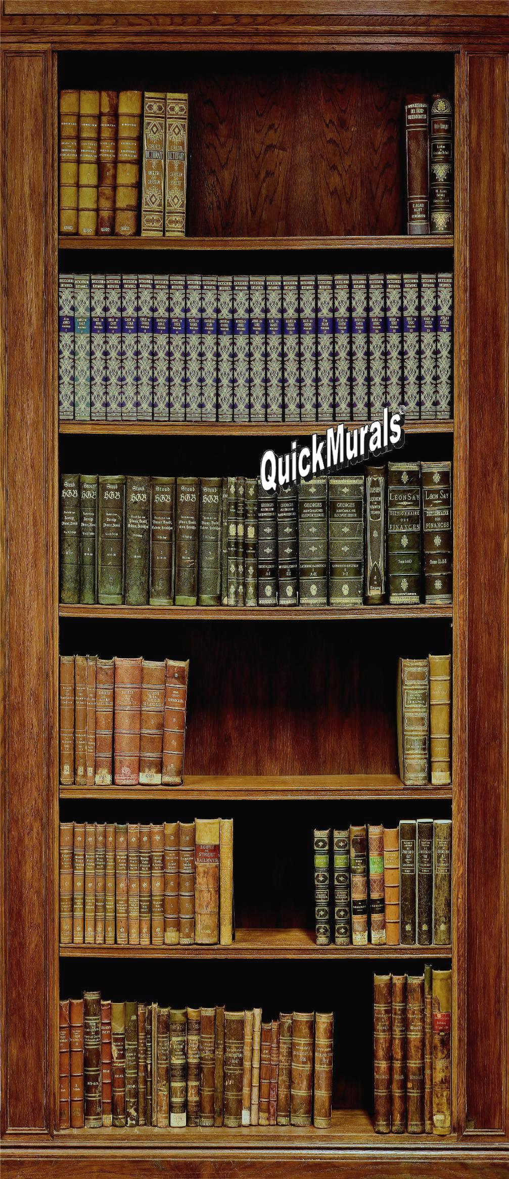 library 1 piece peel stick wall door mural bookcase one piece peel stick wall mural
