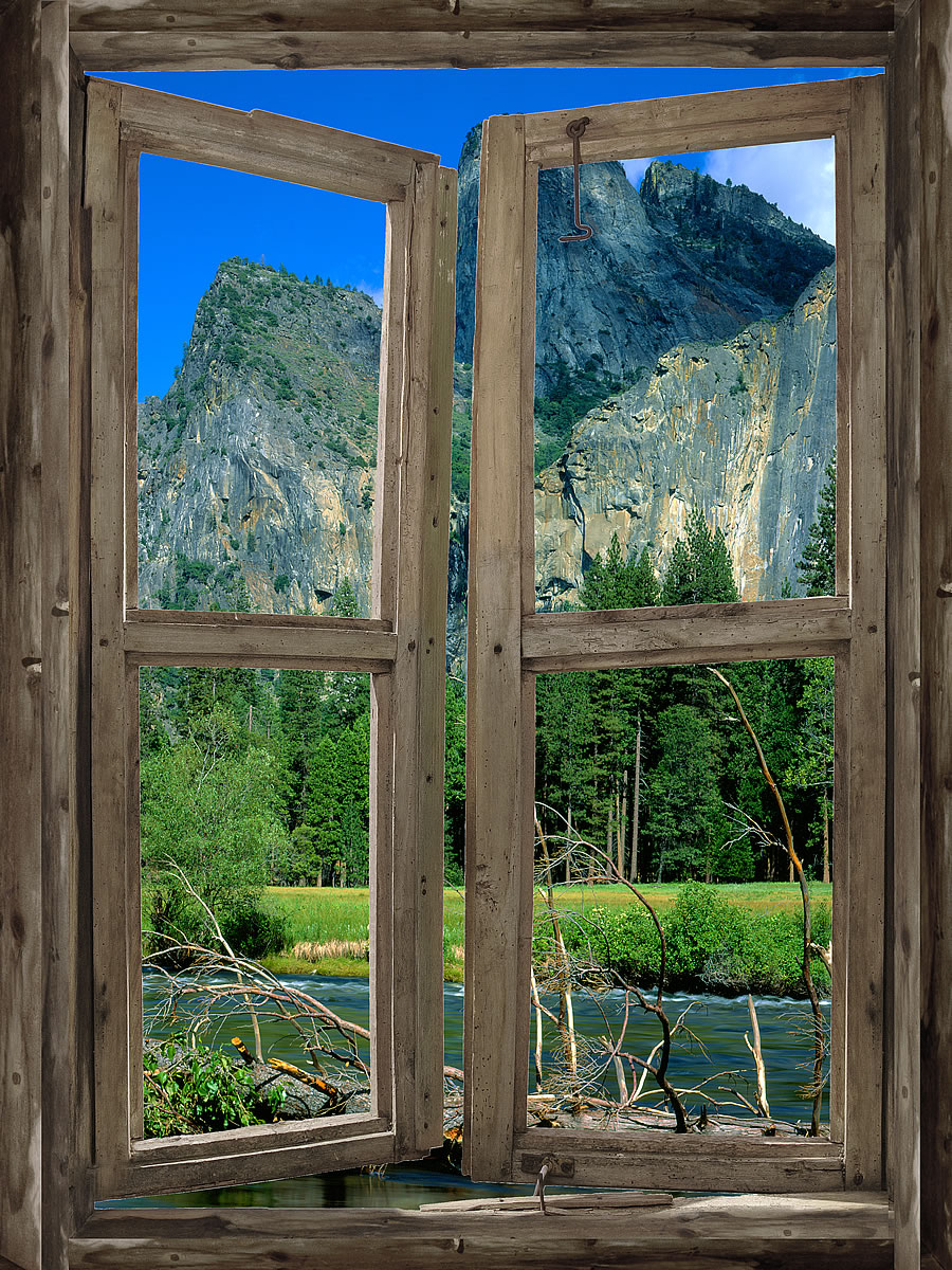 Mountain cabin window mural 3 for Window wall
