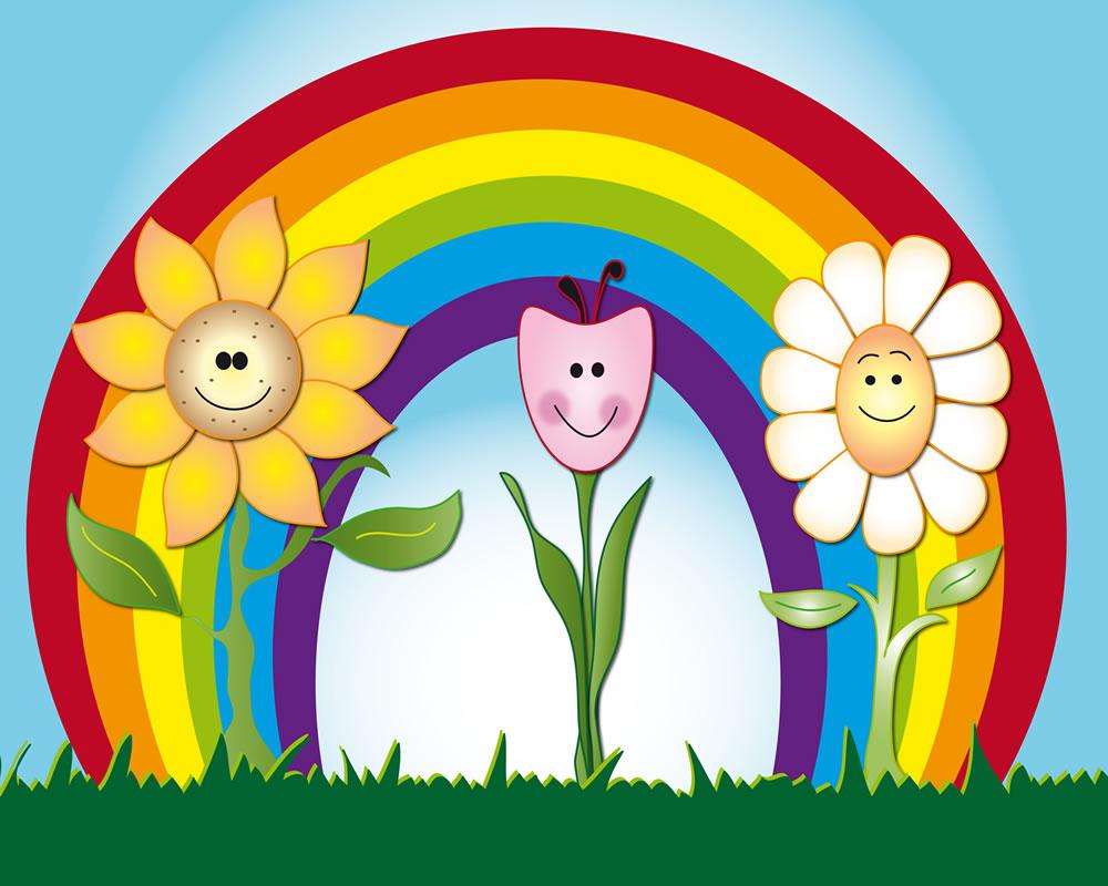 rainbow flowers peel stick wall mural