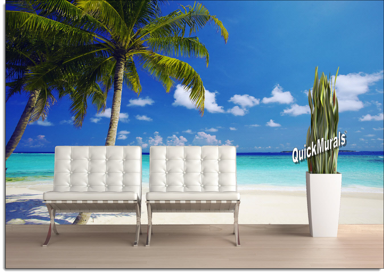 Beach Resort Sunset Peel And Stick Canvas Wall Mural