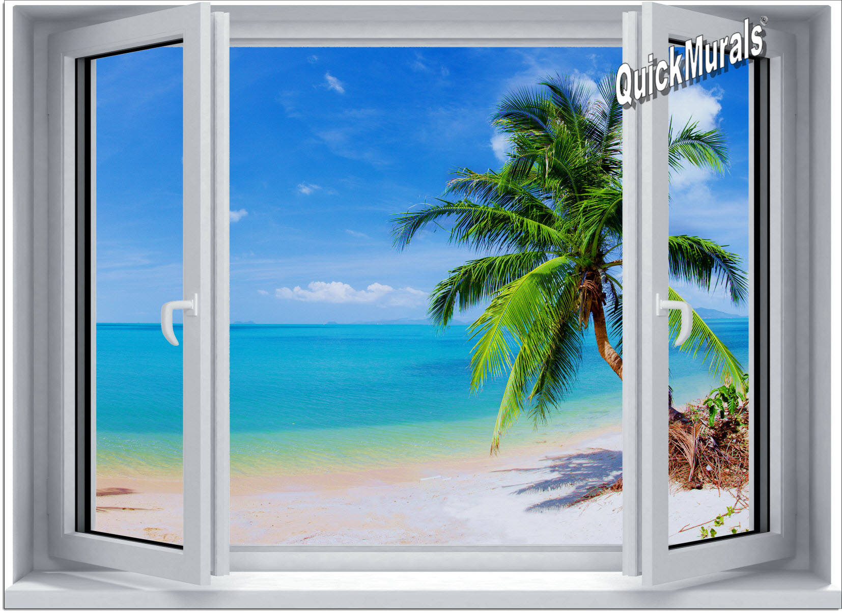 Tropical beach window 2 one piece canvas peel stick for Beach mural for wall