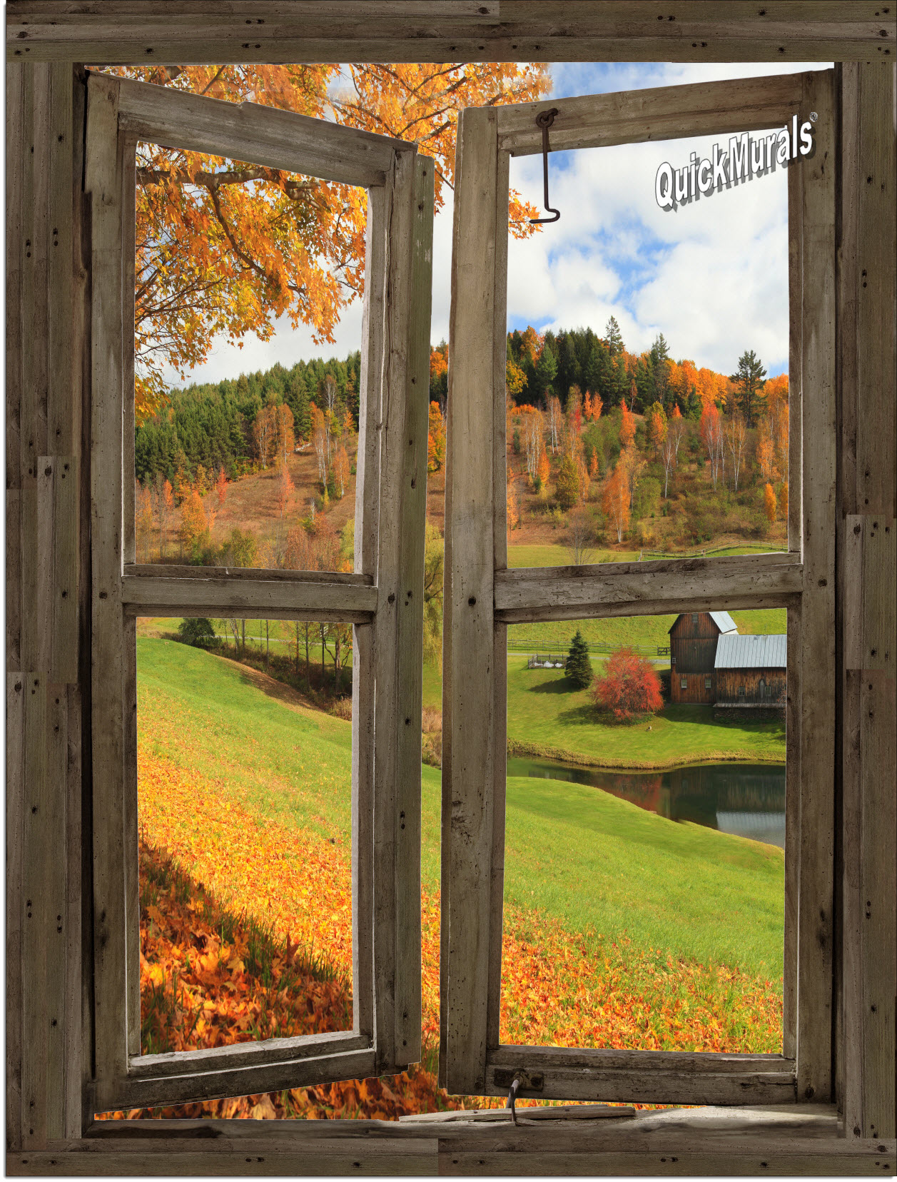 Vermont cabin window peel stick 1 piece canvas wall mural for Canvas wall mural