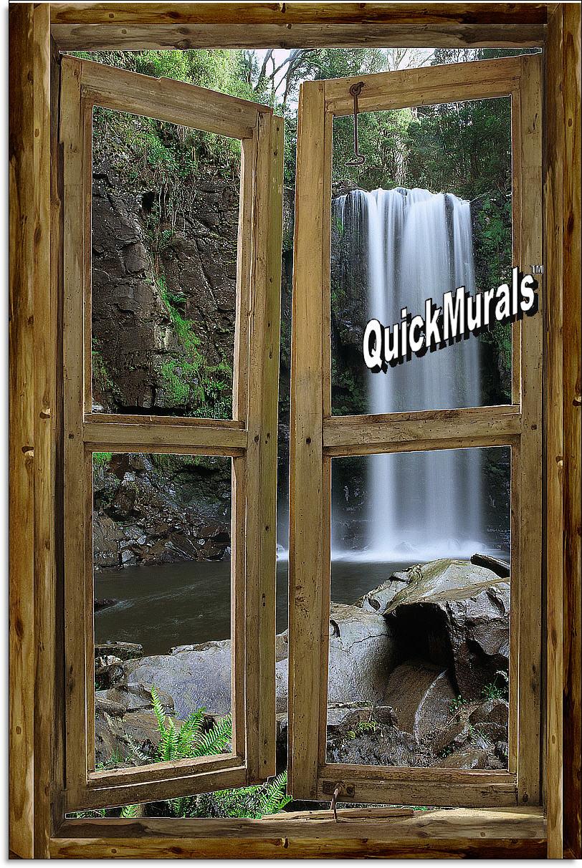 waterfall cabin window mural 2 rustic waterfall cabin tropical peel and stick canvas wall mural