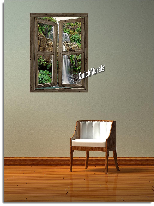 waterfall cabin window 4 peel stick 1 piece canvas wall mural