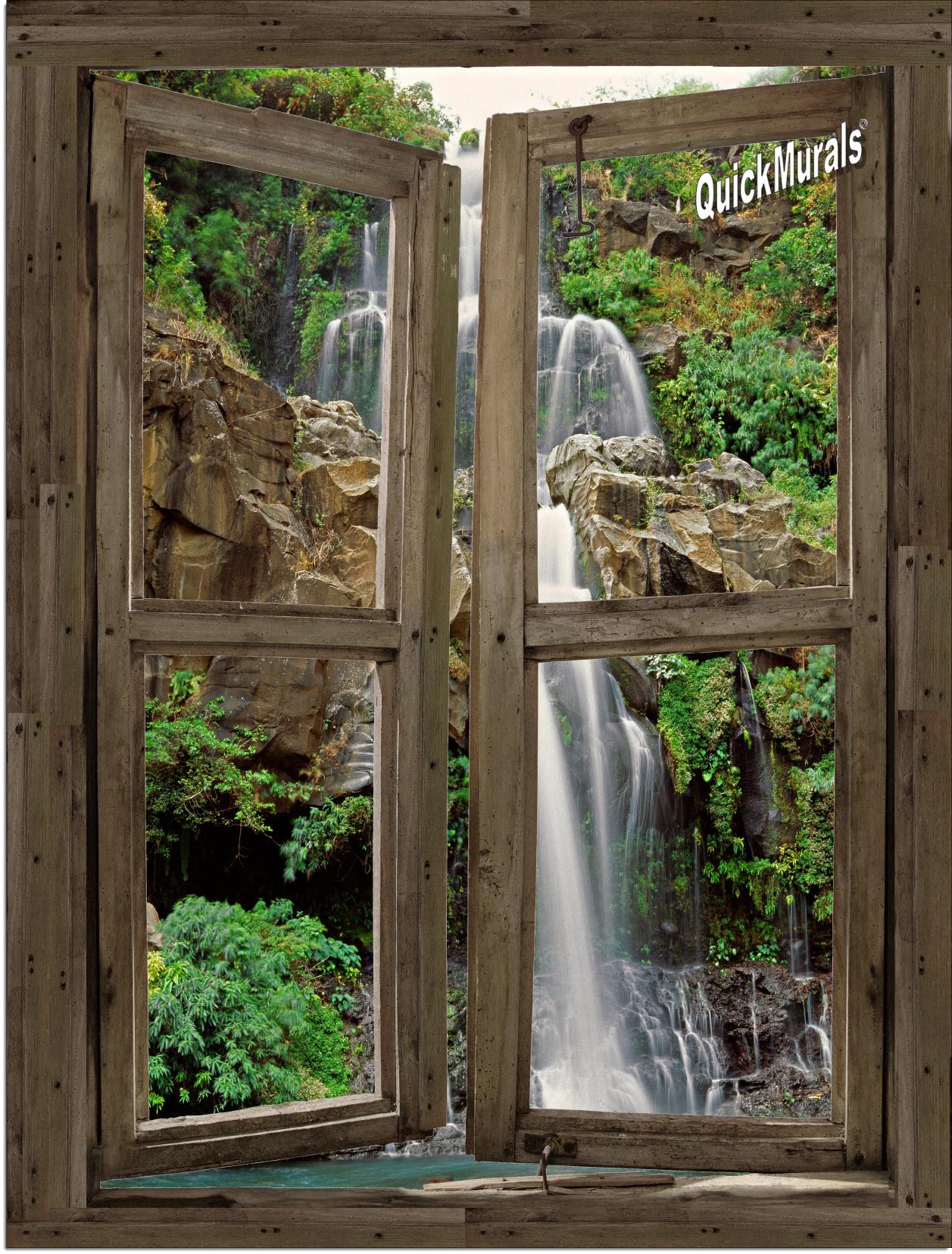 Waterfall cabin window 4 peel stick 1 piece canvas for Window wall