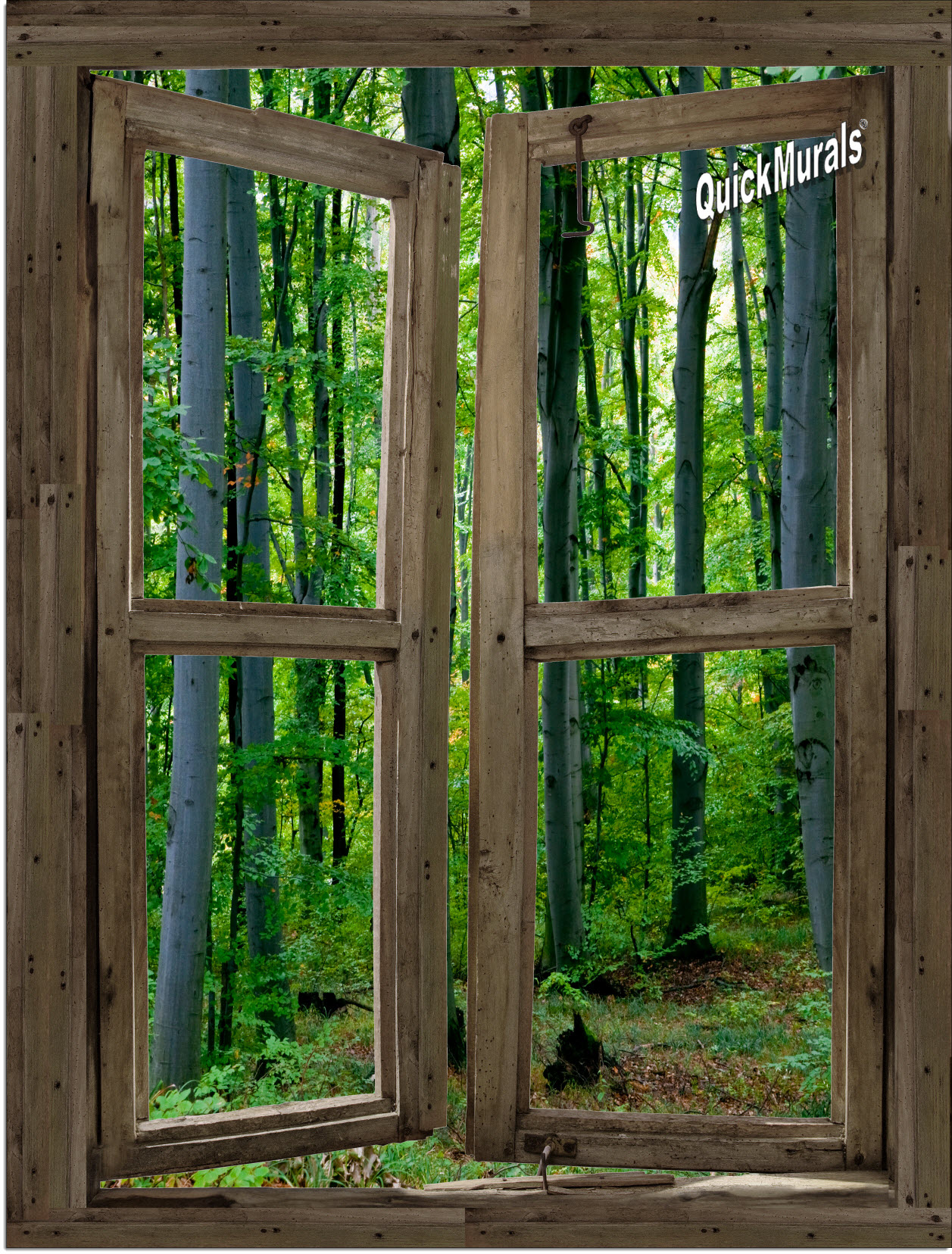 Woodland cabin window peel stick 1 piece canvas wall mural for Canvas wall mural