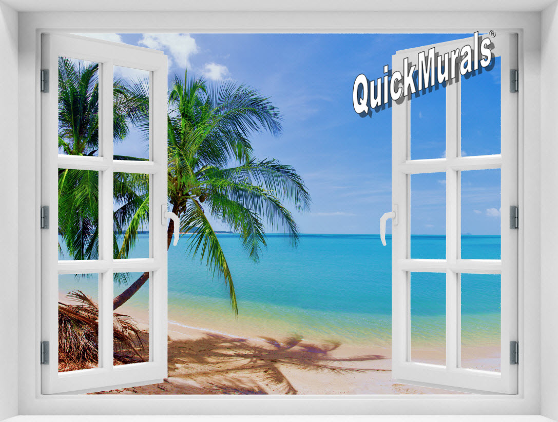 Accent window murals for Beach window mural