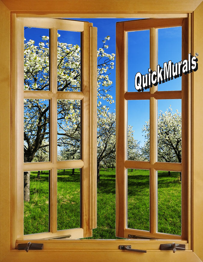 Apple Blossom Window Open 1 Piece Peel Stick Wall Mural