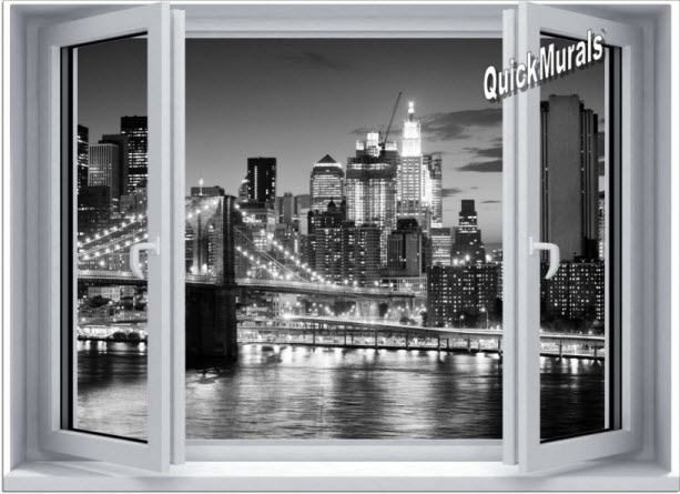 Brooklyn Bridge BW Window One-Piece Canvas Peel & Stick Wall Mural