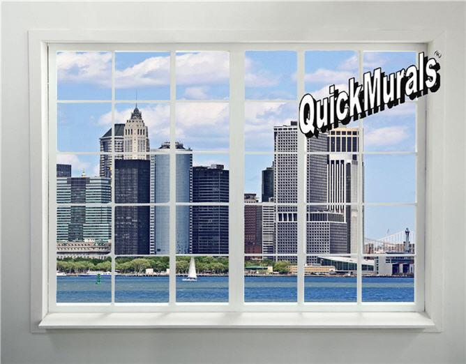 new york city skyline window 2 peel stick 1 piece wall mural