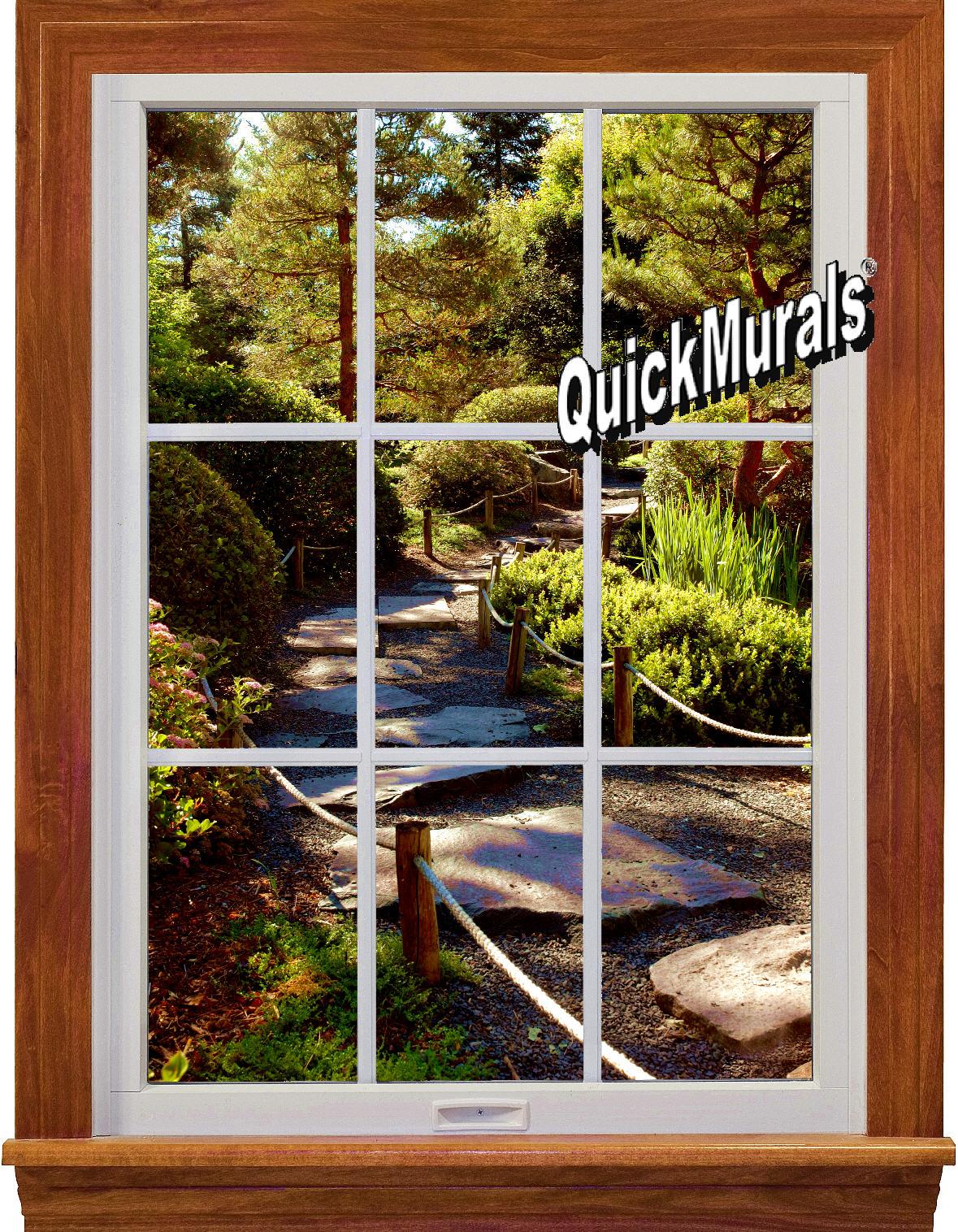 Garden Path Window 1-Piece Peel & Stick Wall Mural