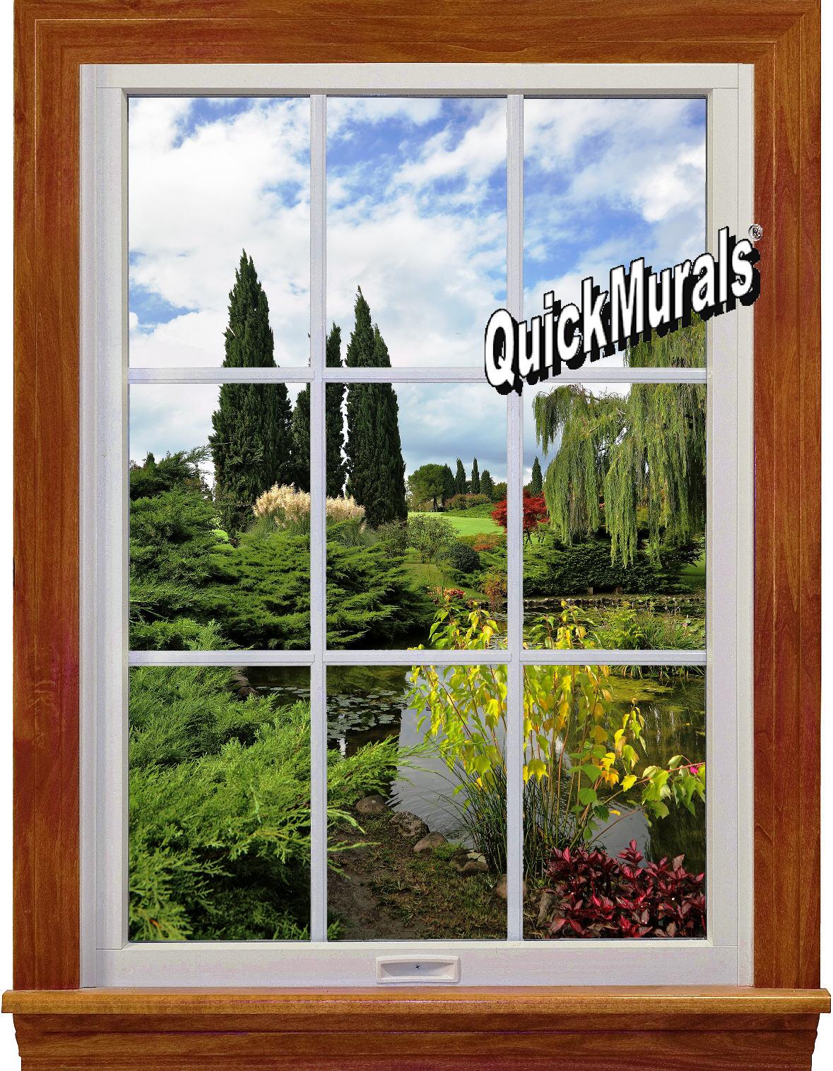 Garden Lake Window 1-Piece Peel & Stick Wall Mural