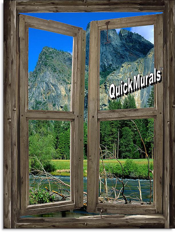 Mountain Cabin Window Mural #3