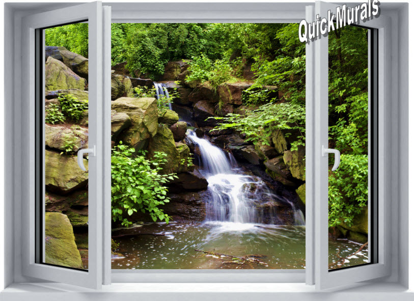 Mountain Waterfall Window 1 Piece Canvas Peel Stick Wall Mural