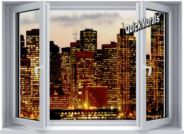 Metropolis Window 1-Piece Peel & Stick Wall Mural