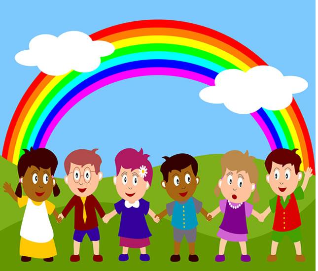 Rainbow children peel stick wall mural for Children s mural